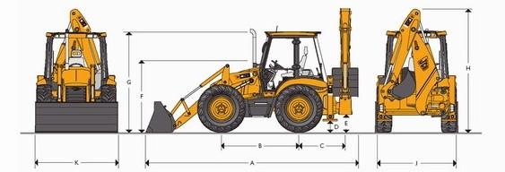 Основные размеры экскаватора-погрузчика JCB 4CX со стандартной рукоятью