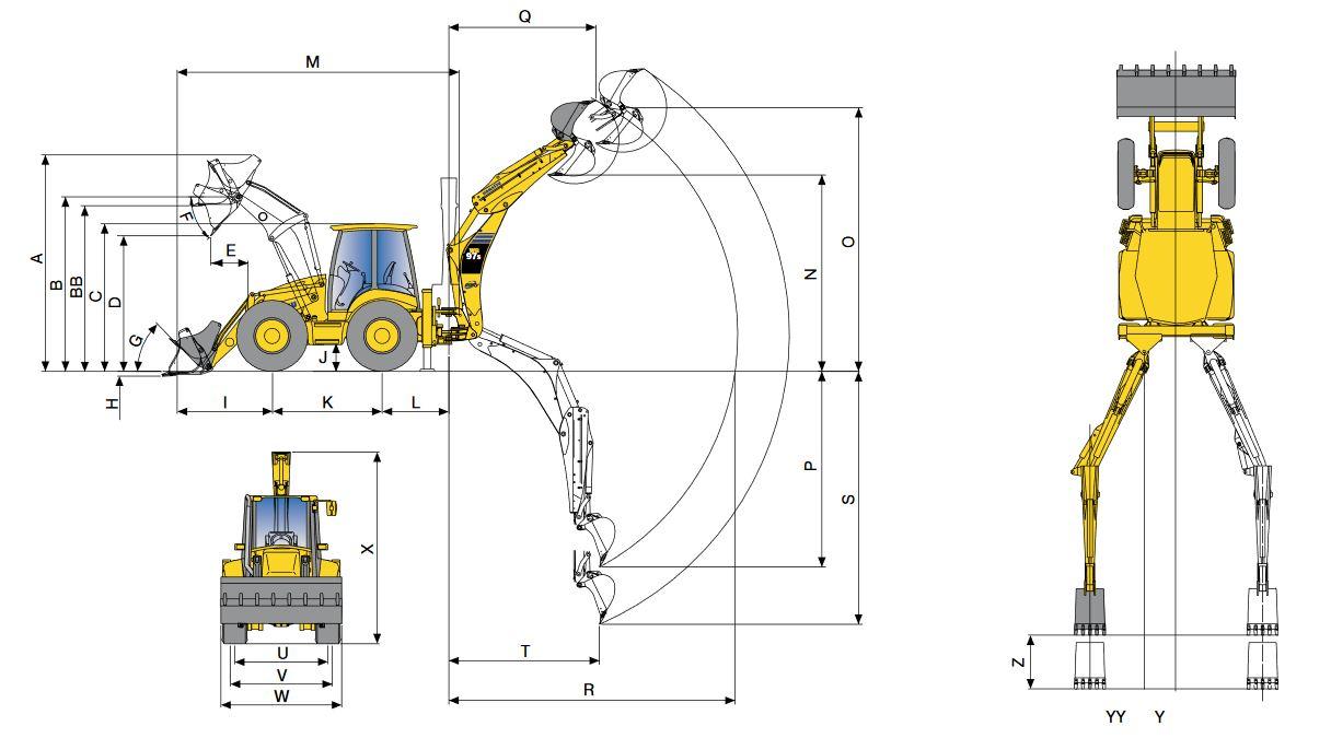 Основные размеры экскаватора-погрузчика Komatsu WA97S со стандартной рукоятью