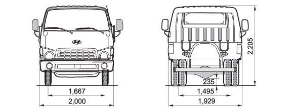 Основные размеры эвакуатора Huyndai HD78 грузоподъемностью до 4 тонн