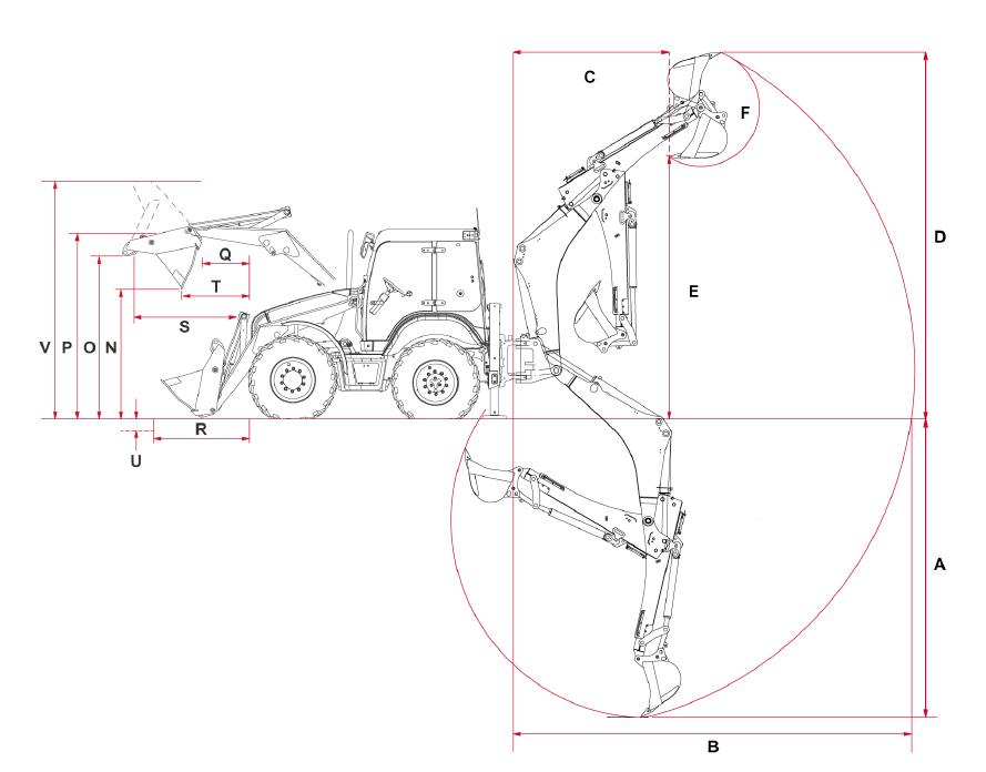 Основные размеры экскаватора-погрузчика Terex TLB 990 со стандартной рукоятью